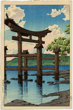 """Gozanoishi Shrine at Lake Tazawa"" by Hasui, Kawase"