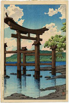 """""""Gozanoishi Shrine at Lake Tazawa"""" by Hasui, Kawase"""