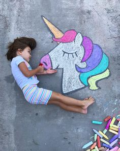 Sidewalk Chalk art, unicorn drawing, chalk art