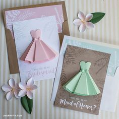 Paper Dress Will You Be My Bridesmaid Cards. LC: With a PDF for the card and another for the template. And a SVG for those who use them. Lia Griffin's stuff is always the best!