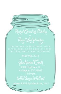 MASON JAR FREE PRINTABLE WEDDING INVITATIONS TEMPLATES