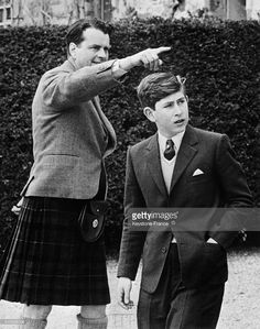 Prince Charles Enters a New School the Gordonstoun school, As His Father Prince Philip did, With School President Captain Ian Tennant, in Elgin, United Kingdom, on May 2, 1962.