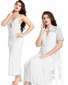 White Nighty - FL-0068 - Flourish 2 Piece Nightwear 1739be2b5