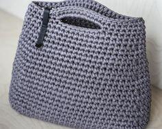 Minimalist Custom Everyday Bag/ Ladies Handbag/ Casual Bag/ Shopper Bag/ Everyday Woman's Bag/ Crochet Bag of Cotton Recycled Chunky yarn