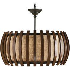 Dadelus Wood and Burlap Slat Mid Century Style Pendant Lamp ($1,170) via Polyvore