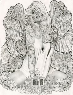 Money Angel by Mouse Lopez Sexy Woman Tattoo Sleeve Canvas Art Print