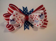 Layered Patriotic Hair Bow by cheerfuldianna80 on Etsy, $7.00