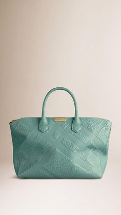 Burberry Aqua Green Medium Embossed Check Leather Tote Bag - An elegant tote bag in check-embossed signature grain leather Top zip closure with oversize metal zip pull, zipped interior compartment. Discover the women's bags collection at Burberry.com