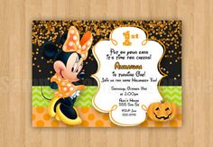 Items similar to Minnie Mouse Clubhouse Bow Birthday Party Personalized Invitation Halloween .Jpeg File on Etsy Mickey Halloween Party, Minnie Mouse Halloween, Halloween Birthday, First Birthday Parties, First Birthdays, Birthday Ideas, Disney Halloween, Fall Birthday Invitations, Halloween Invitations