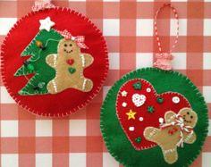 Adornos de pan de jengibre de Navidad / set por CraftsbyBeba