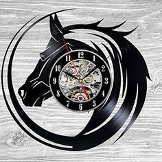 TRY YOURSELF AS A DESIGNER -Want to change the design of the vinyl clock? What to add or change the color of the sticker? You would be happy about your Self-Made Vinyl Record Wall Clock. Vinyl Record Crafts, Vinyl Record Clock, Record Wall, Vinyl Records, Lp Vinyl, Clock Art, Clock Decor, How To Make Wall Clock, Horse Gifts