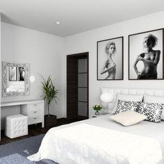 Habitaciones muy femeninas en blanco y negro... Me he enamorado! :)