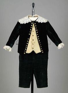 "Little boy's silk velvet ""Little Lord Fauntleroy"" ensemble, American, 1880-89."