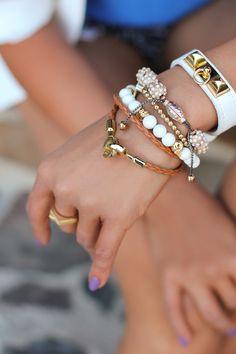 White leather strap bracelet, woven leather bracelet and scull & beads bracelet all via Minusey