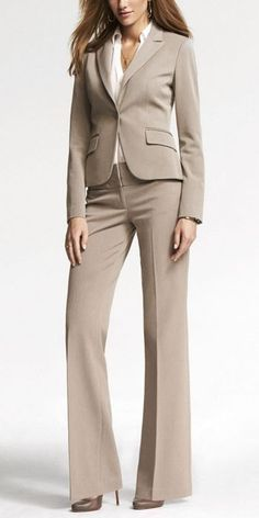 Taupe is a classic and conservative look.  Great for an everyday look at the office.     |  Follow Rita and Phill for more tips on the unspoken rules of professional fashion!    https://www.pinterest.com/ritaandphill/conservative-office-outfits/