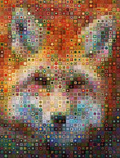 granny square digital art fox