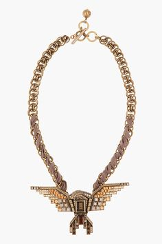 LANVIN brass handcrafted hinged eagle necklace