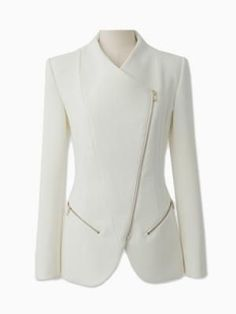 Choies Zipped Blazer In White dress coat outfit Fashion Outfits, Womens Fashion, Fashion Trends, Fashion Coat, Cheap Fashion, White Fashion, Elegantes Outfit, Business Outfit, White Outfits