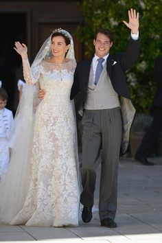Princess Claire Of Luxembourg and Prince Felix Of Luxembourg depart their wedding ceremony at the Basilique Sainte Marie-Madeleine on September 21, 2013