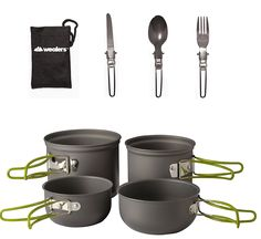 Campfire Cookware - Wealers Cookware 7 Pieces Kit Cookset Backpacking Gear Hiking Outdoors Cooking Equipment Lightweight Compact Durable Pot Pan Bowls Free Folding Cutlery Set -- You can find more details by visiting the image link. Backpacking Gear, Hiking Gear, Hiking Backpack, Camping Glamping, Outdoor Camping, Camping Cooking Set, Cooking Ham, Camping Kitchen, Cooking Sweet Potatoes