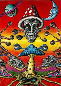 Shroomz by Acid-Flo on DeviantArt Acid Trip Art, Acid Art, Hippie Painting, Trippy Painting, Psychedelic Art, Dope Kunst, Trippy Drawings, Art Drawings, Images Esthétiques