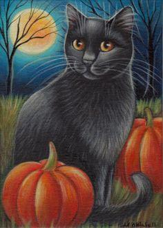 Black Cat Halloween Painting in Acrylics