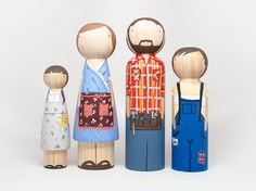 """Fair Trade - 4 Dolls - Fully Custom Family of Four Oversized Peg Dolls 7"""""""