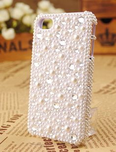 Imitation pearl cover cell phone case for iphone 4 or by BlingWork, $21.80