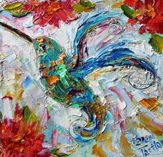 Original oil Hummingbird 6x6 palette knife by Karensfineart