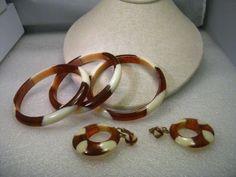 Vintage 1960's Lucite Amber & Cream Bangle Bracelets & Clip Hoop Earrings Set #unbranded