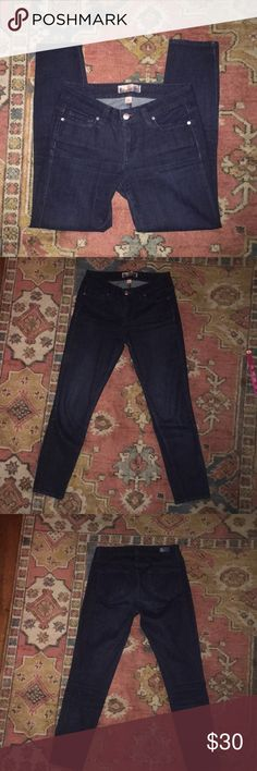 😍 Paige Premium Denim 😍 Super cute dark wash Paige premium denim jeans. Skinny Ankle. Size 26.  Inseam: 25 inches. Made of 98% cotton/2% spandex. Cut#206511 Style#1418106-307 These were my cousins and she only wore them once in college because they are too big...so pretty much brand new. PAIGE Jeans Skinny