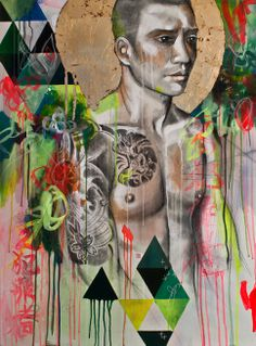 Mixed media vibrant colorful Japanese Yakuza painting. The halo behind the head is gilded with real gold. #geometric #green #figure #tattoo