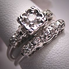 Antique Diamond Wedding Ring Set Vintage Art Deco WGold For $1250.00 At  Etsy.com #