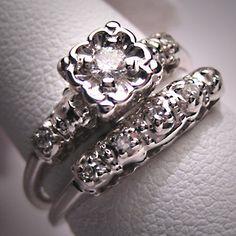 Antique Diamond Wedding Ring Set Vintage Art Deco WGold for $1250.00 at etsy.com #wedding #rings