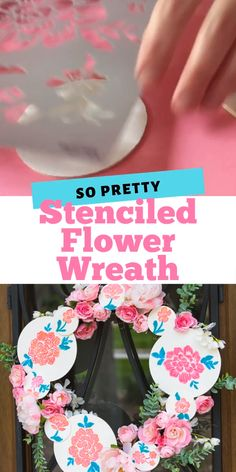 Make a gorgeous spring or Mother's Day wreath using flower stencils to paint wood circles. Incorporate the wood circles along with faux flowers. Such a unique wreath idea! Stencil Wood, Stencil Diy, Flower Stencils, Acrylic Craft Paint, Diy Painting, Painting On Wood, New Crafts, Wood Crafts, Stencilling Techniques