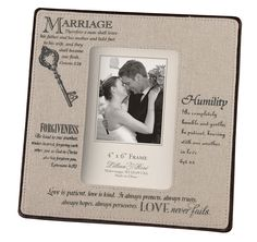 This Christian photo frame is the perfect gift to recognize a couple's faithful commitment on their wedding day. The frame, with Scripture verses, cotton canvas and faux Leather edge measures 5 inches x 5 inches and holds a 4 inches x 6 inches photo. Canvas Picture Frames, Wedding Picture Frames, Wedding Frames, Wedding Photos, Wedding Ideas, Wedding Portraits, Christian Wedding Ceremony, Christian Weddings, Marriage Pictures