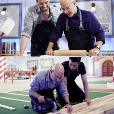 Ron and Jonathan Scott (of Property Brothers) baking and constructing a Gingerbread house on Food Network's All-Star Gingerbread Build, premiered 11/28/15