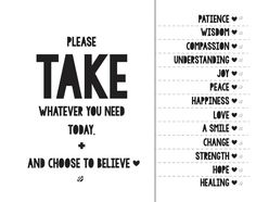 take what you need poster printable - Google Search