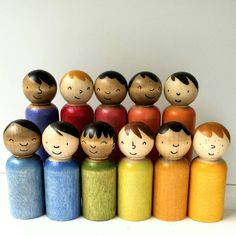 Hand painted wooden peg dolls set, multicultural peg people, waldorf play sets, imaginative play sets, loose parts playwood toy Wood Peg Dolls, Wood Toys, Wooden People, Green Toys, Doll Painting, Wooden Pegs, Imaginative Play, Handmade Toys, Handmade Skirts