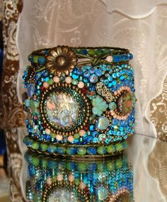 Russian Mermaid bead embroidery cuff bracelet by pameliadesigns, $595.00