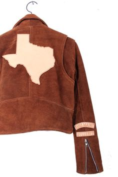 Texas Babes Against Bullshit, Cropped Custom Jacket. Vegetable tanned laser engraved patches on drum dyed suede moto jacket. Langley Fox, Texas Forever, Suede Moto Jacket, Erin Wasson, West Texas, Bullshit, Drum, Style Icons, Custom Made