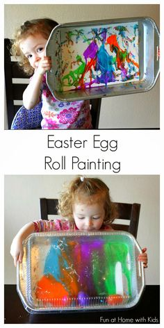 Plastic Easter Egg Roll Painting from Fun at Home with Kids great idea sticking the lid on the cake pan! Easter Eggs Kids, Plastic Easter Eggs, Easter Art, Hoppy Easter, Easter Crafts For Kids, Easter Ideas, Easter Projects, Art Projects, Easter Activities
