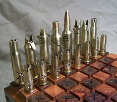 STEAMPUNK BULLET SHELL chess set-mixed calibers by OldeWorldCC