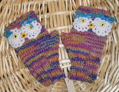OWL WRIST WARMERS/ FINGERLESS GLOVES/ STUDENT SIZING - MULTICOLOR WITH SPARKLE #Handmade #Fingerless