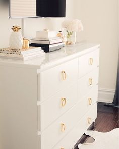 Today on the blog I'm sharing how to glam up your ikea dresser and sharing my favorite brass hardware! link in profile http://liketk.it/2opEv @liketoknow.it #liketkit #thepinkdream