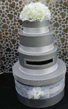 Wedding Card Box  Silver & White by SweetJonesin on Etsy