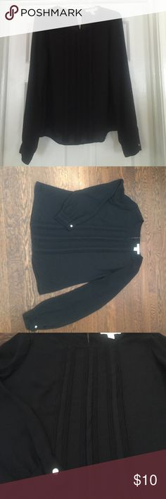 Forever 21 Black Blouse Classic good looking black long sleeve blouse with pleat front. Silver button closures on cuffs on back neck. Worn only once! Always open for offers!  Forever 21 Tops Blouses