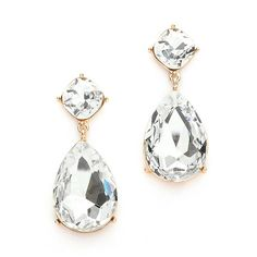 """These stunning bridal earrings offer modern glamour with a vintage vibe. These brilliant pear-shaped crystal drops are plated in gold and measure 2"""" long. Guaranteed to make an elegant statement for a"""