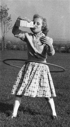 old photos, young kids vintage hula hoop