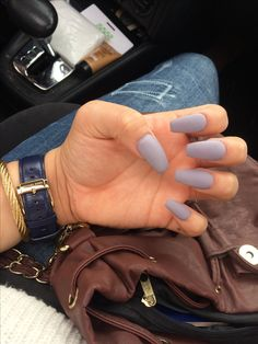Matte lilac gray coffin nails.